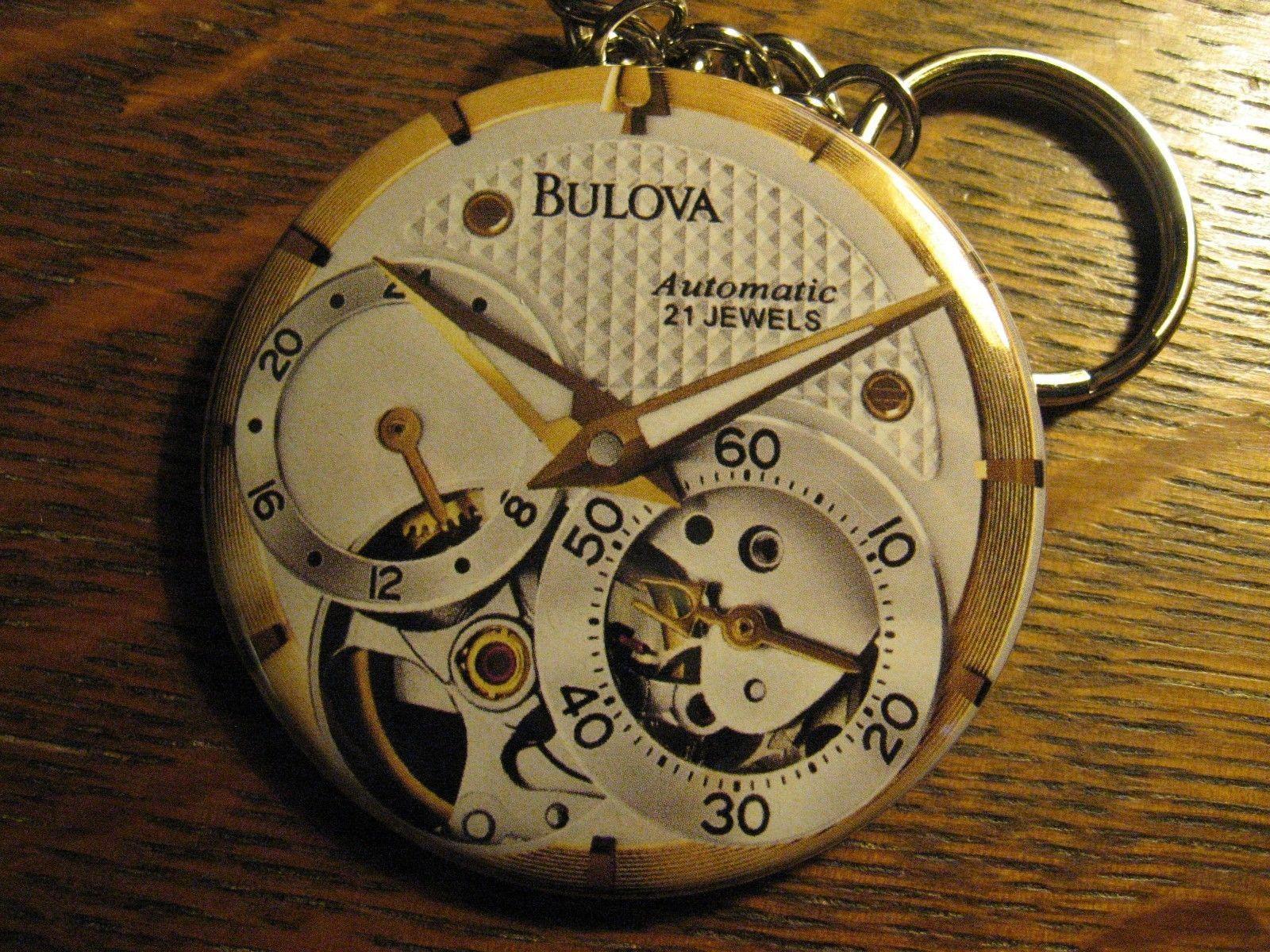 Bulova 21 Jewels Keychain - Repurposed Magazine Ad Backpack Purse Clip Ornament