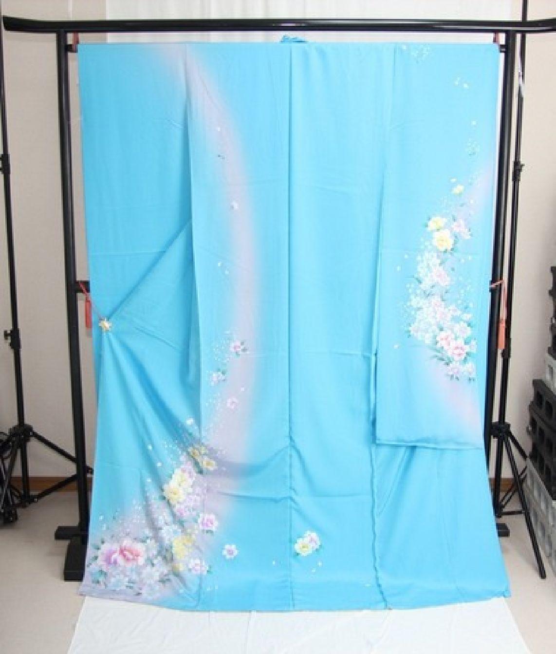 Princess Snow Queen Elsa Silk Furisode-Kimono Set Maiko Blue M Kyoto Japan NEWFS