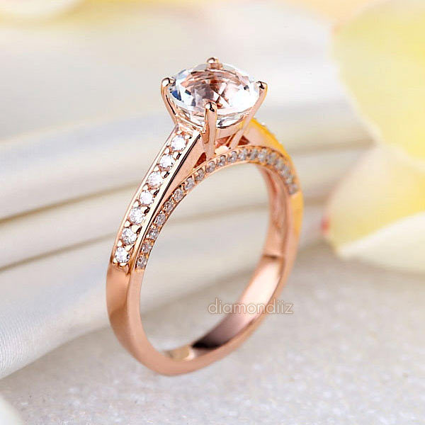 14K Rose Gold Bridal Engagement Ring 1.2 Ct Topaz 0.42 Ct Natural Diamond