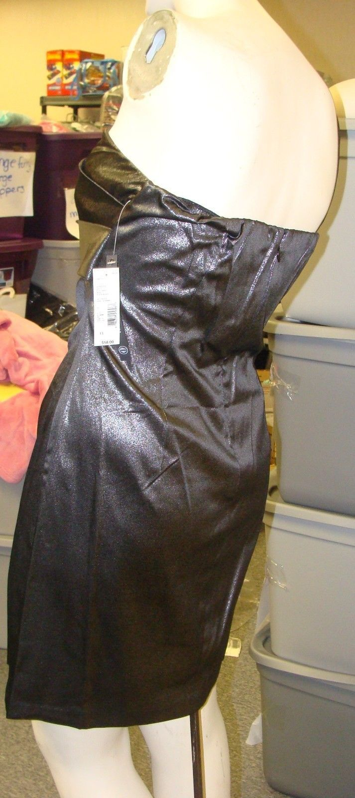 NEW WOMENS JUNIORS SIZE 7 FAUX LEATHER BLACK SILVER METALLIC ONE STRAP DRESS