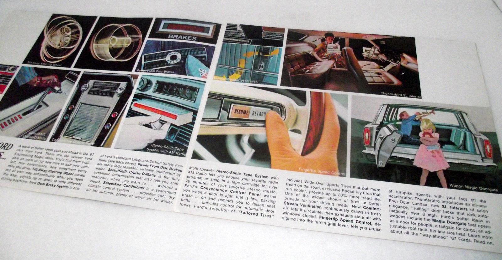 1967 Ford Sales Brochure Car Mustang Falcon Fairlane Thunderbird Dealership Vtg