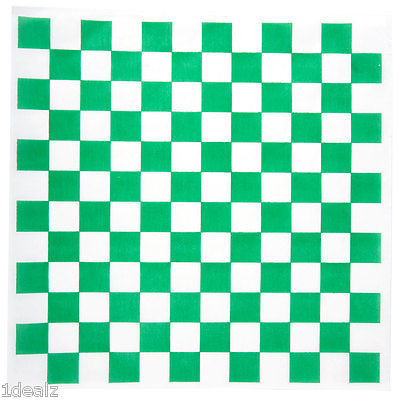 """12"""" x 12"""" GREEN Check Deli Sandwich Wrap Paper 1000 pieces Case other colors too"""