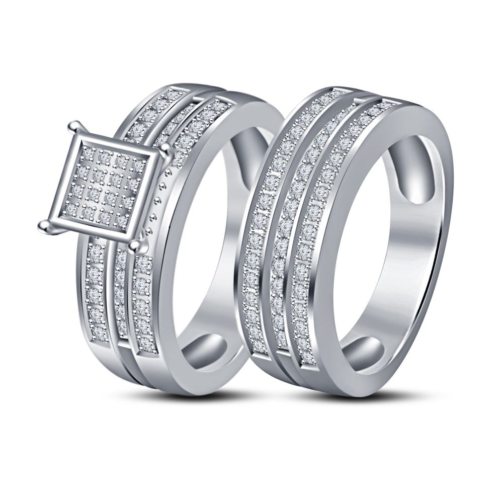 Simulated Diamond 14k White Gold Plated 925 Silver Engagement Trio Ring Set