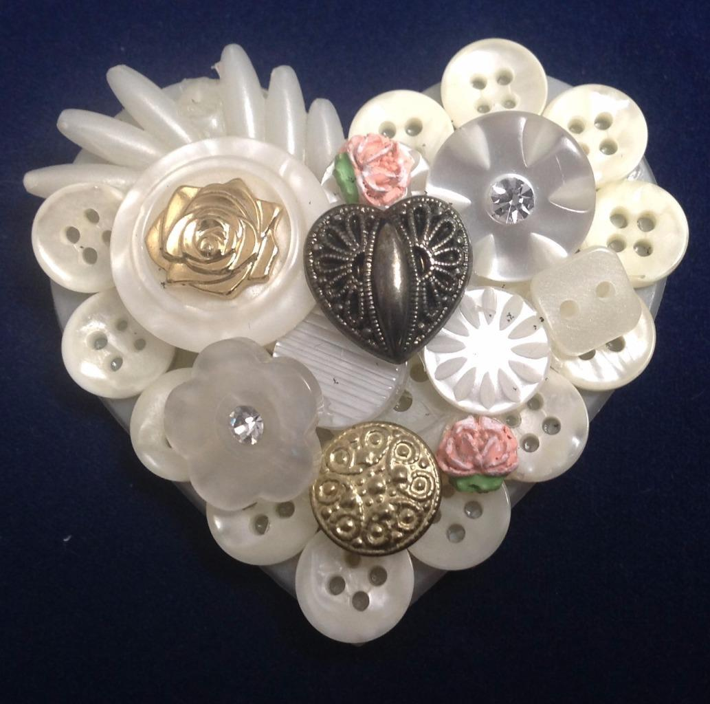 Heart Pin Design Collage Heart & Buttons Brooch Fashion Jewelry, White, Artisan
