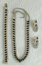 Vntg 3 Pc Set Necklace Bracelet Earrings Onyx Rhinestone Formal Evening ... - $49.49