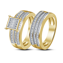 New Classy Look 14K Yellow Gold Fn Round Sim Diamond Engagement Bridal Ring Set - $69.65