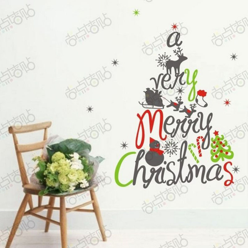 NEW Christmas Decals Wall Sticker Window Shop Mural Removable Gift Sales 252TZ8