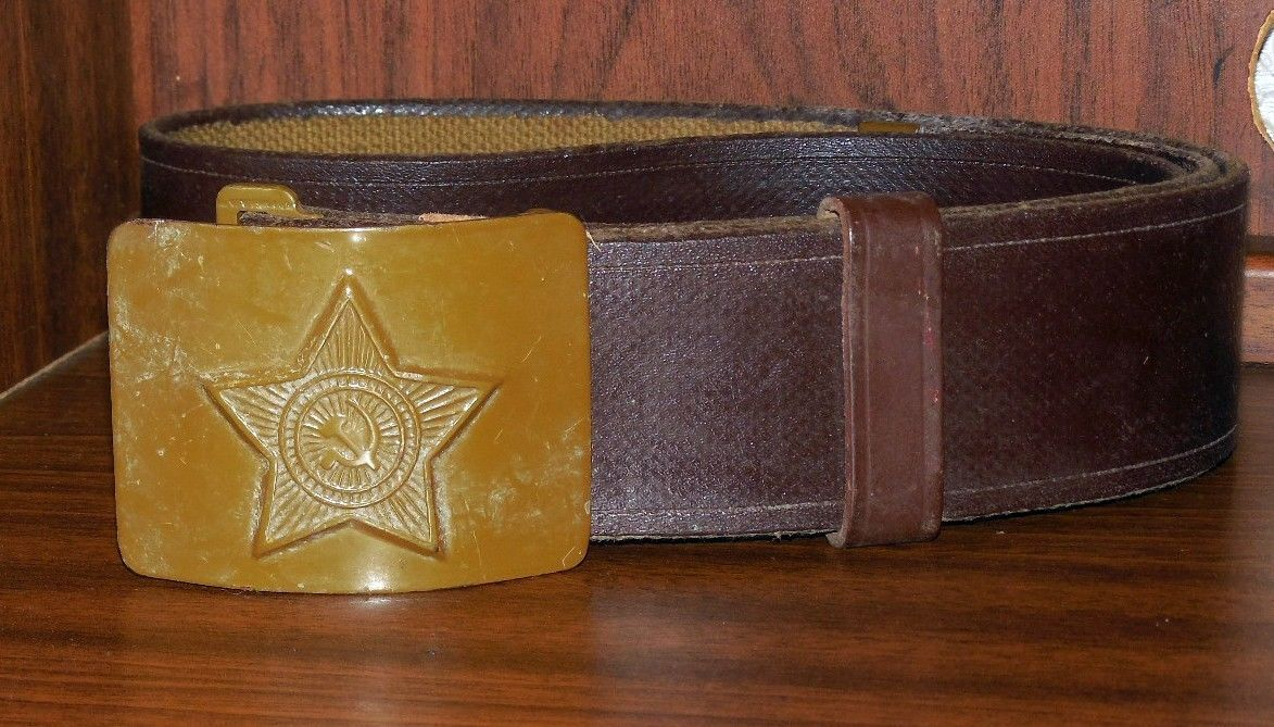Old Vintage Russian Military Field Green Soldier's Belt With Buckle USSR Army