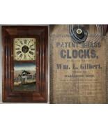 antique WM L GILBERT OGEE CLOCK OG Shelf Mantel walnut REVERSE PAINTED I... - £128.30 GBP