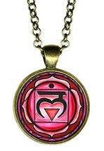 "1st Chakra Muladhara Love Root 1"" Circle Antique Bronze Gold Pendant - $14.95"