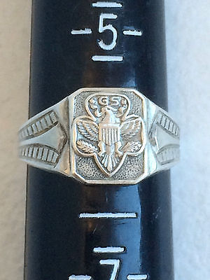 Vintage Mid-Century Girl Scout  Sterling Silver Ring Adjustable-size 6