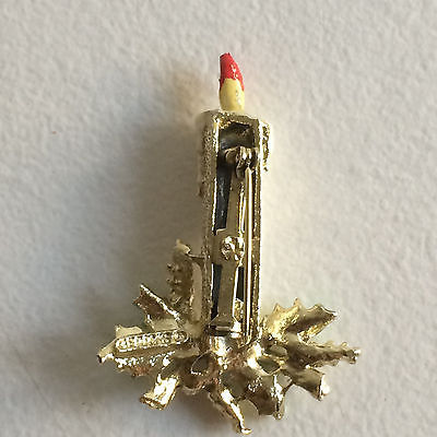 Candlestick Brooch Vintage Mid-Century Gerry's Pin Signed Silver-plated Enamel