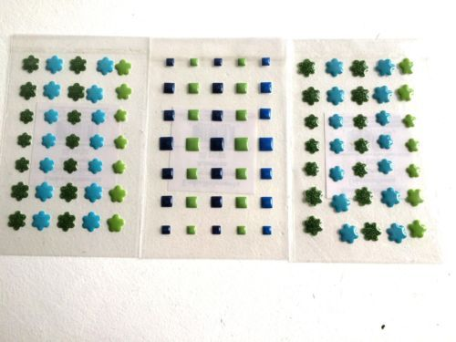3D Puffy Green and Blue Sticker Bundle flowers and Squares 105pcs
