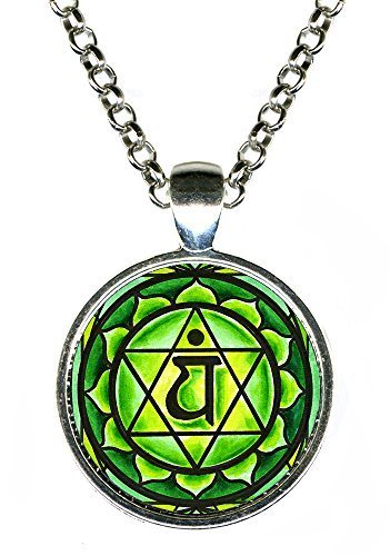 "4th Chakra Anahata Heart 1"" Circle Silver Pendant"