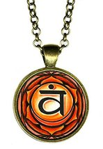 "2nd Chakra Svadisthana 1"" Circle Antique Bronze Gold Pendant - $14.95"