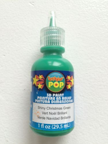 Scribbles 3D Fabric Paint 1 Ounce-Shiny Christmas Green
