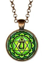 "4th Chakra Anahata Heart 1"" Circle Antique Copper Pendant - $14.95"