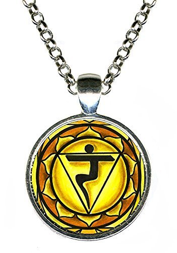 "Primary image for 3rd Chakra Manipura 1"" Circle Silver Pendant"