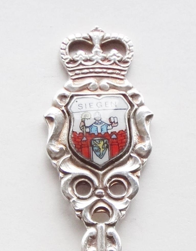Collector Souvenir Spoon Germany Siegen Coat of Arms Porcelain Emblem