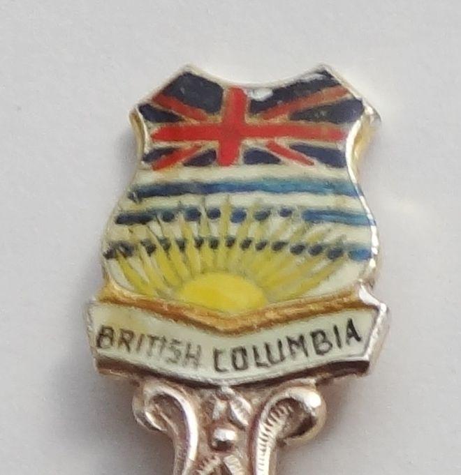 Collector Souvenir Spoon Canada BC Coat of Arms Flag Dogwood Enamel