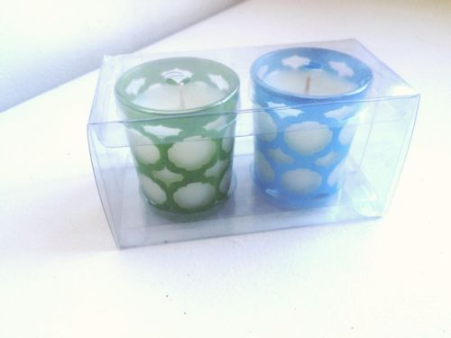 Fresh Linen Votive Candle Duo w Glass Holders