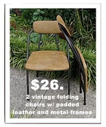two vintage folding metal and leather chairs - $26.00