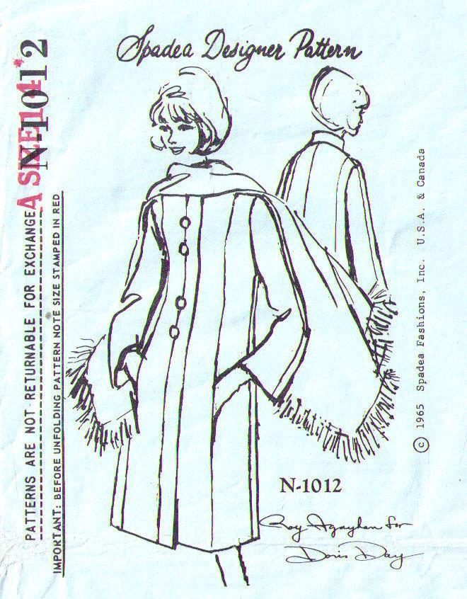 1965 Spadea Designer COAT & STOLE Pattern 1012 - Size 14 - UNCUT