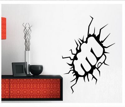 Breaking out punch fist wall sticker wall decal for room