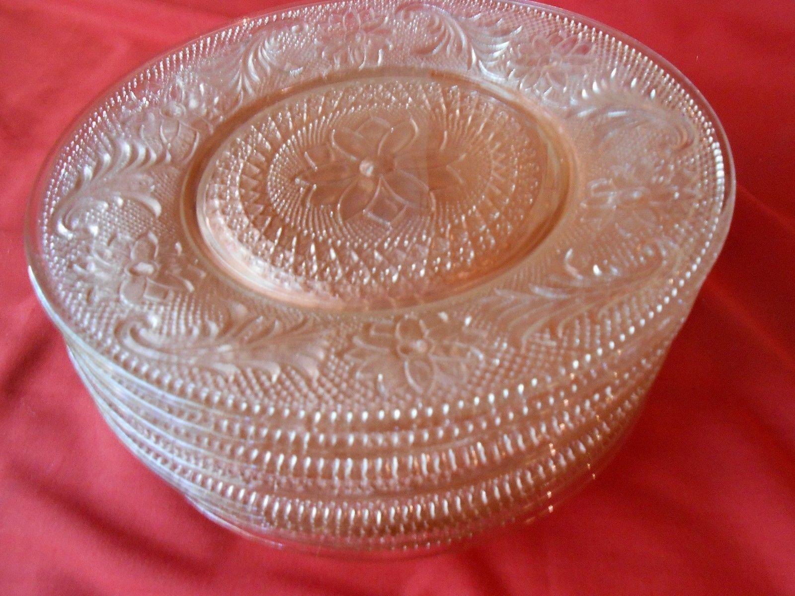 Great PINK Depression Glass SANDWICH Pattern Indiana Glass 7 LUNCHEON Plates