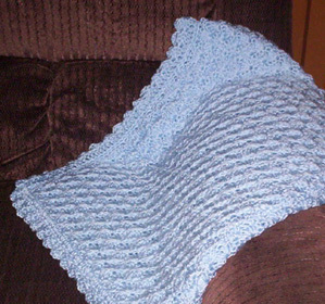 Blue Hand Crocheted Baby Blanket