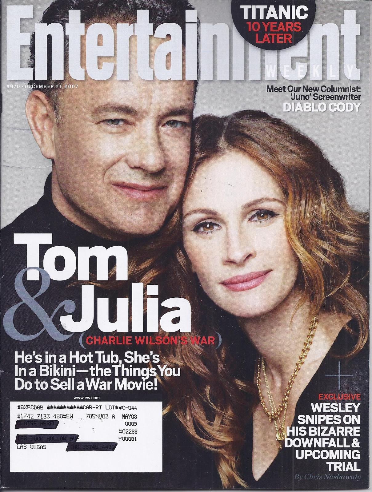 Titanic 10 Years Later, TOM & JULIA @ Entertainment Weekly DEC 2007