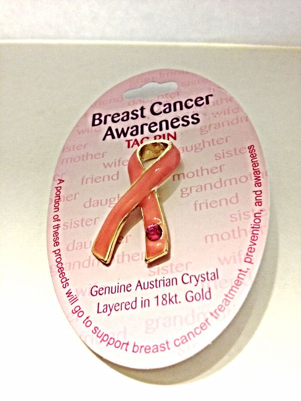 New Breast Cancer Awareness Tac Pin Austrian Crystal Layered In 18kt Gold Pink