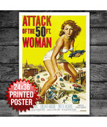 "ATTACK OF THE 50FT WOMAN POSTER 24"" x 36"" - WALL ART - MEDIA ROOM DECOR  - $12.50"
