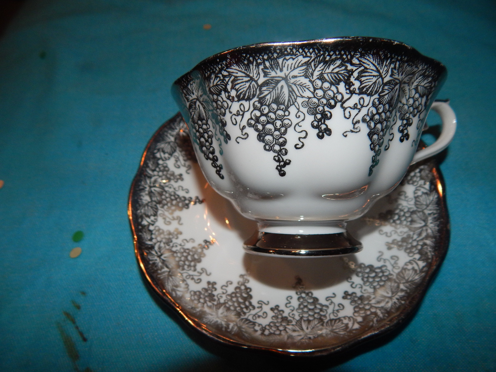 Royal Albert Cup and saucer bone china England Silver Etching Free Shipping #4