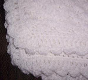 White Hand Crocheted Baby Blanket