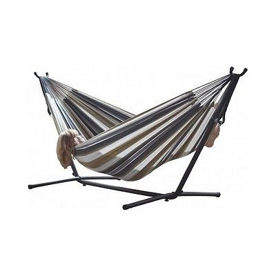 Double Hammock 9FT Steel Stand Carrying Case Space Saving Portable Hanging Bed