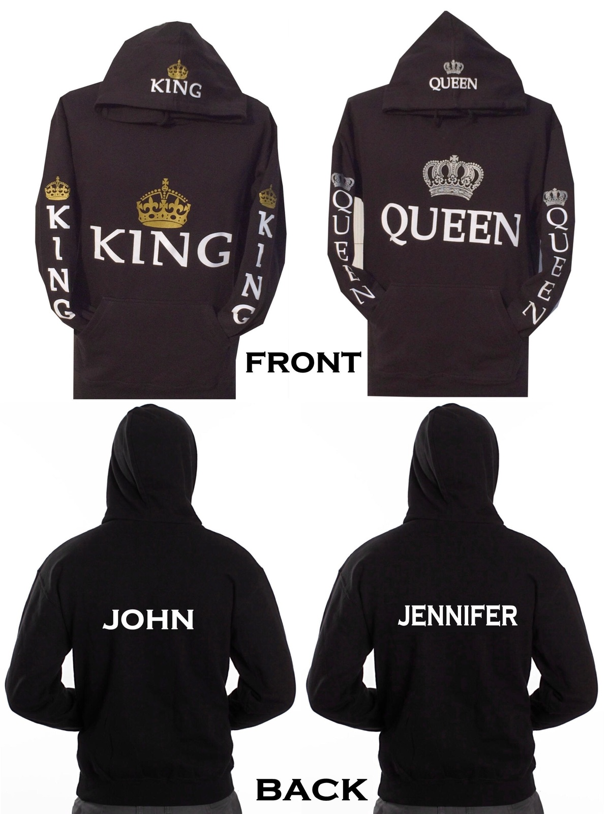 Couple Matching King and Queen Hoodie Color Black Hooded Sweatshirt +Your Name o