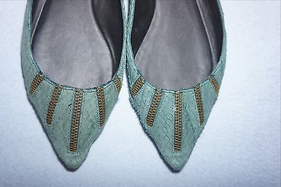NEW Elizabeth and James Gree Teal Snake-Embossed Leather Zipper Flats SZ 9.5