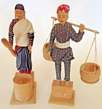 "Figurine Set Greek Peasant Woman & Man 8"" Hand Carved Wood Vintage - $14.80"