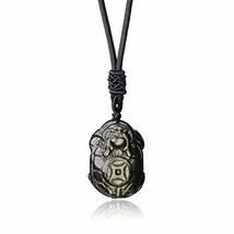 COAI Golden Obsidian Stone Amulet Turtle Pendant Necklace - $23.00