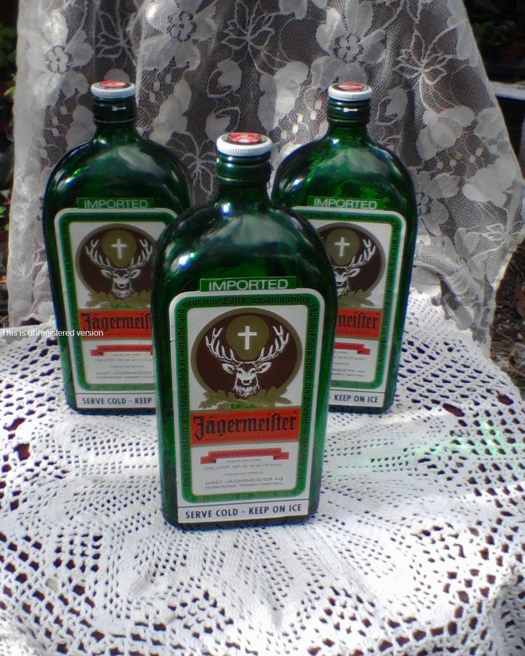 Lot of (6) Recycled Empty Jagermeister Liquor bottles for crafts, slumping, pai