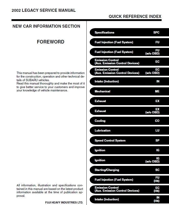 2002 SUBARU OUTBACK / SUBARU LEGACY FACTORY SERVICE MANUAL OEM