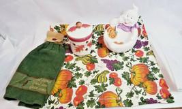 Hallmark Autumn Candle Holder Jar w Leaves Acorn Ghost Candy dish bowl Halloween - $0.98