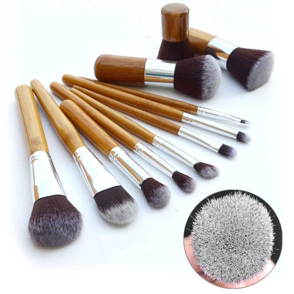 Eco Bamboo Handle Cosmetic Makeup Brush Set 11-Piece Soft Brushes Kit With Bag