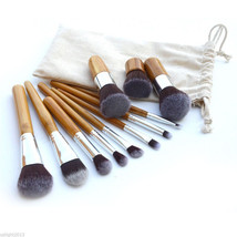 Eco Bamboo Handle Cosmetic Makeup Brush Set 11-Piece Soft Brushes Kit Wi... - ₨4,416.42 INR