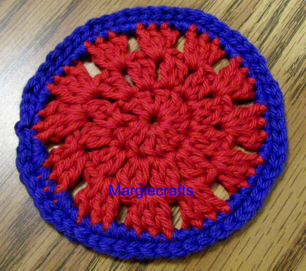 Drink Coasters, Handmade, Crochet, Blue, Green, Red, Round Drink Mat