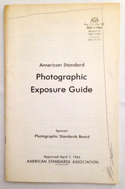 Vintage American Standard Photographic Exposure Guide  Booklet 1966