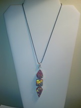 Genuine Pink Druzy Stone Pendant On Black Cord ... - $10.99