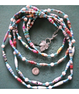 """25"""" Paper Beaded Necklace and Pierced Earrings Set - 3 Strands - $22.50"""