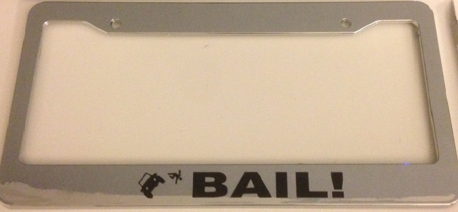 Jeep Bail - Guy Jumping out of Jeep - Chrome License Plate Frame -  Funny